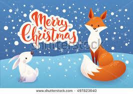 christmas vector card cartoon rabbit stock vector 497828029