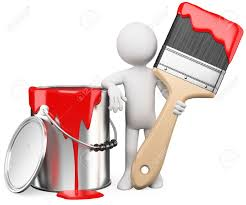 Red Paint by 3d Artist Posing With A Can Of Red Paint And Paintbrush Rendered