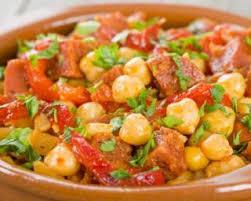 comment cuisiner des pois chiches recette de mijoté de pois chiches minceur au chorizo et aux poivrons