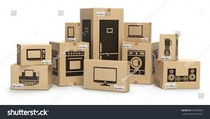 household kitchen appliances home electronics boxes stock