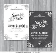 chalkboard wedding program template wedding invitation vintage card freehand flower stock vector