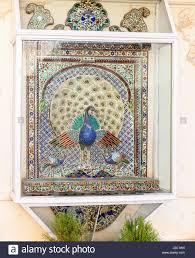 peacock tile mosaic city palace shiw nivas palace udaipur stock