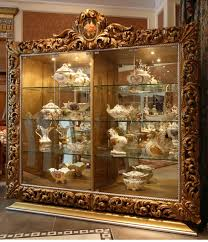 Antique Brass Display Cabinet Peacock Living Room 4 Door Glass Display Cabinet Antique
