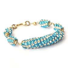bracelet handmade images Handmade bracelet having blue beads with white aqua rhinestones jpg
