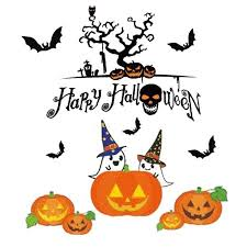 happy halloween pumpkins spooky cemetery witch and bats tomb wall