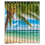 Sea Themed Shower Curtains Clear Sea Sand High Quality Fabric