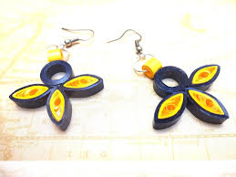 paper ear rings quilled paper earrings yellow black quilled dangler earrings