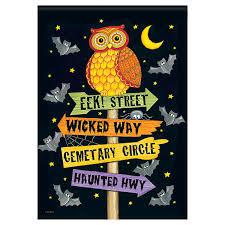 halloween garden flag eek street owl
