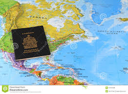 Canada On Map by Canadian Passport On The Map Royalty Free Stock Photos Image