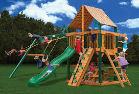 Backyard Swing Sets For Kids by Furniture Exciting Wooden Swing Set By Gorilla Playsets Plus