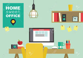 home interior vector home office flat interior design vector illustration royalty free