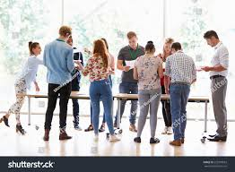 Standing Desks For Students Teacher College Students Standing By Desks Stock Photo 223918033