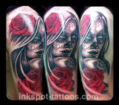 day of dead on leg day of the dead and roses