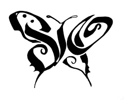 calligraphy butterfly design stencil