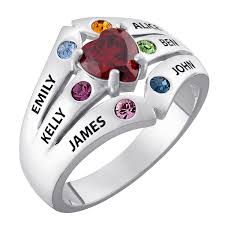 mothers ring 6 stones s simulated birthstone ring in sterling silver 3 6 stones