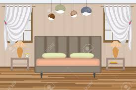 Bedroom Elevations Interior Design Bedroom Illustration Elevation Room With Bed Side Table Lamp