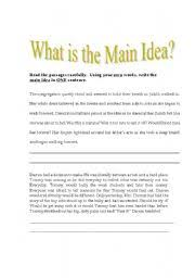 finding the main idea worksheet free worksheets library download