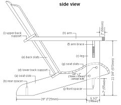 Homemade Adirondack Chair Plans Side Elevation Plan Of Cape Cod Aka Adirondack Chair Fusta