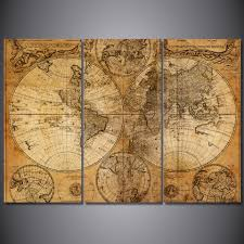 Ancient Map Hd Printed 3 Piece Canvas Art World Map Canvas Ancient Map