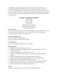 Computer Engineer Resume Sample Sample Resume To Google Templates