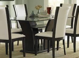 Glass Top Pedestal Dining Room Tables Black Stained Wood Pedestal Dining Table With Glass Top And Shelf