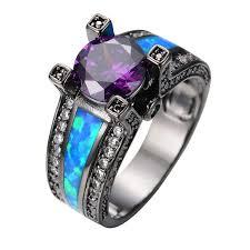 stone bands rings images Vintage purple jewelry ocean blue fire opal stone women men jpg