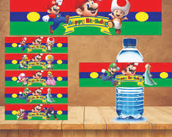 mario bros printable party water bottle labels mario bros