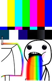 Drooling Rainbow Meme - the tv has no signal tv drool rainbow 9gag