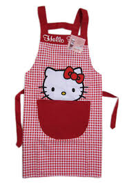 amazon com hello kitty cooking craft apron rare red checker