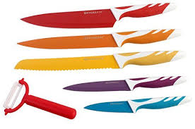 colored kitchen knives everrich non stick colored kitchen knives with peeler 6 set