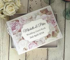 personalised wedding guest book classic personalised wedding guest book roses pink white angel