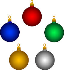 five shiny tree ornaments free clip