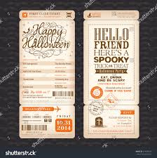 halloween party vintage style boarding pass stock vector 214343329