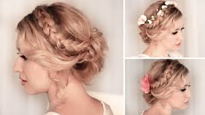 braided updo hairstyle for medium long hair tutorial wedding