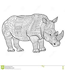 wildlife coloring book rhinoceros coloring book for adults vector illustration stock