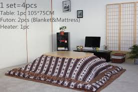 japanese heater 4pcs set japanese kotatsu set table futon heater luxury living