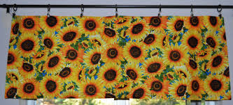 Sunflower Valance Curtains Sunflower Valances And Cafe Curtains By Prettylittlevalances