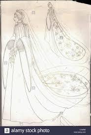 nov 11 1973 princess anne u0027s wedding dress a drawing of