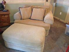 Oversized Chair With Ottoman Bassett Linen Colored Chair And A Half With Matching Ottoman On