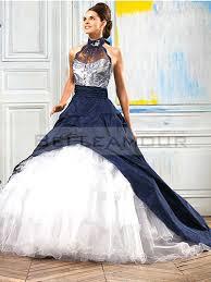 robe de mari e bleue de mariée bleu blanc taffetas dentelle organza licou traîne chapelle