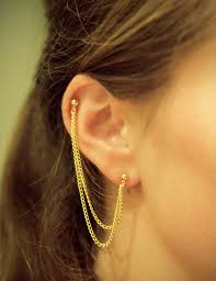 earrings with chain ear cartilage ride or diy diy piercing chain earring
