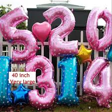 inflated helium balloons delivered oversized 40 inch pink blue number balloon aluminum foil helium