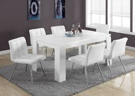 Dining Room Sets White Amazon Com Monarch Specialties White Leather Look Chrome Metal 2