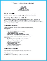 Teacher Sample Resume Example Resume Of Teacher Assistant