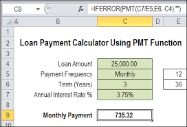 loan formulas excel loan payment calculator contextures blog