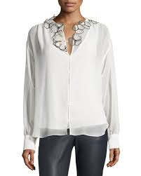 see by chloé long sleeve floral chiffon blouse winter white
