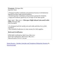 babysitter resume template 6 experience description nanny resume