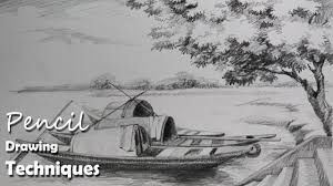 pencil drawing tutorial how to draw boats u0026 a riverside