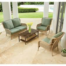 Home Depot Patio Furniture Cushions by Hampton Bay Lemon Grove 4 Piece Wicker Patio Conversation Set With