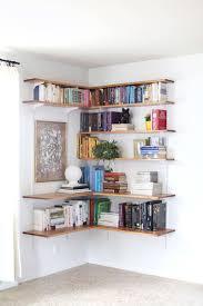 shelf decorating ideas decorations comfortable brown wood corner book shelves decor ideas